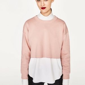 Pink Zara Basic Cropped Sweatshirt  • Size Small